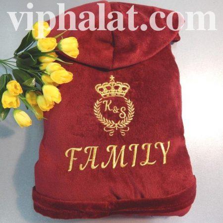 Махровый VIP халат с вышивкой Семья