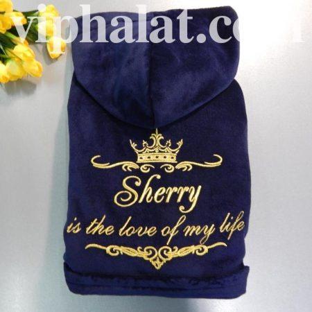 Домашний махровый халат с вышивкой Sherri