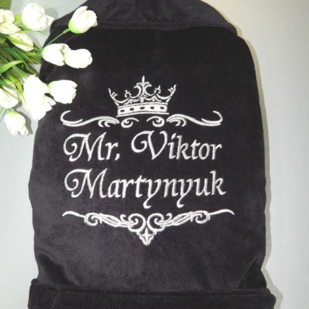Домашний мужской VIP халат Чёрная махра