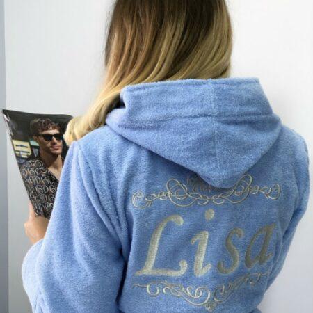 Женский голубой махровый халат Лиза