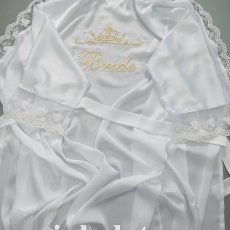 Женский белый атласный халат Невеста