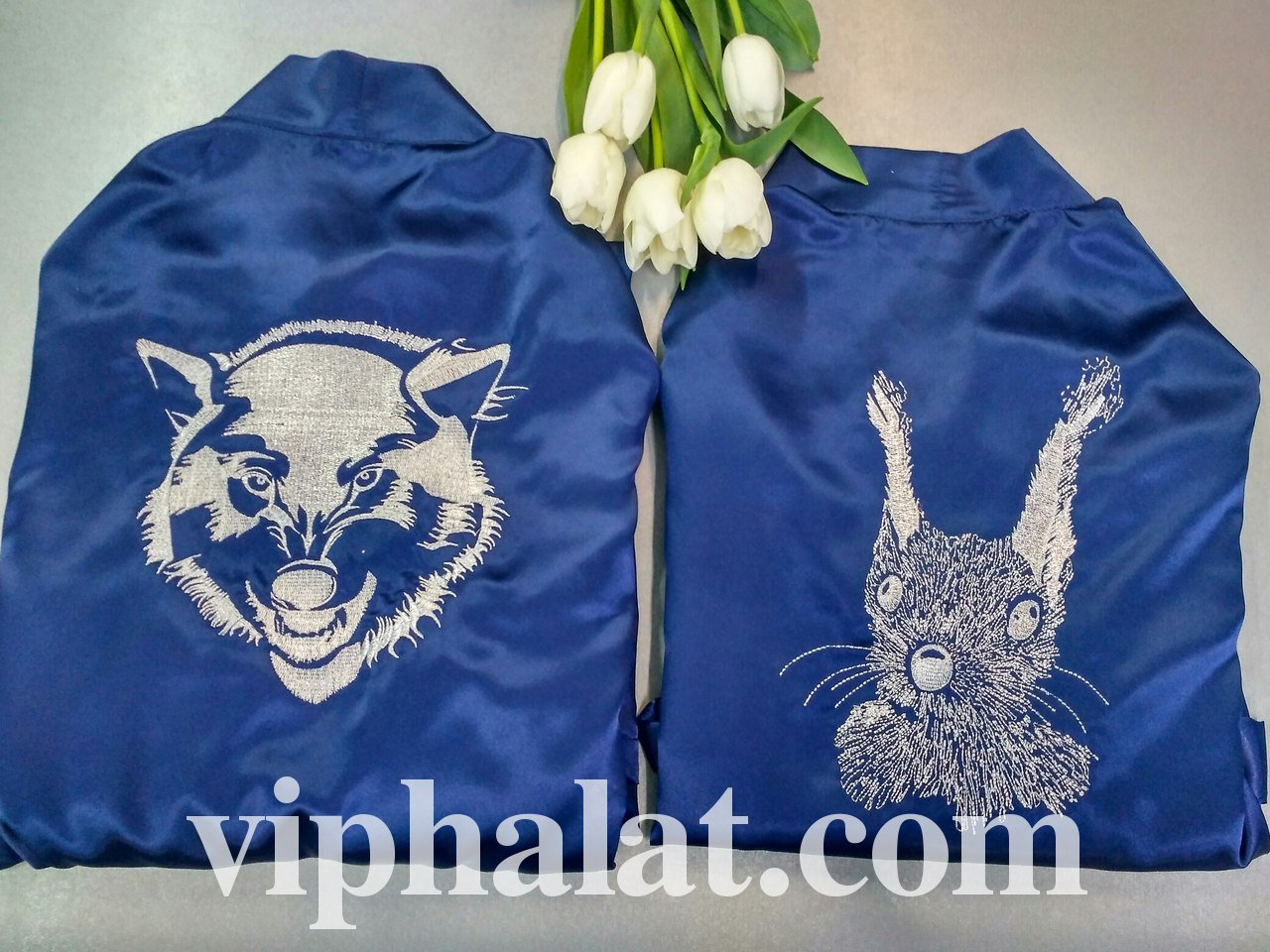 Атласный халат с именной вышивкой 31