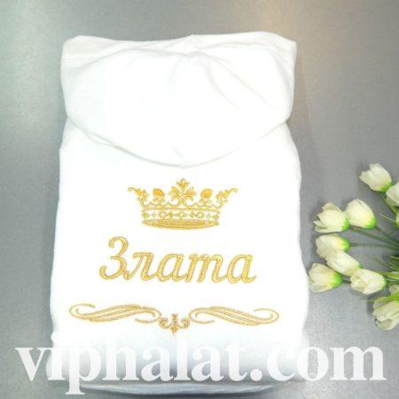 Белый махровый женский халат Принцесса Злата