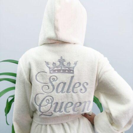Белый махровый женский халат Королева продаж
