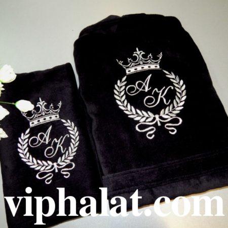 Банный мужской VIP комплект Серебряная монограмма