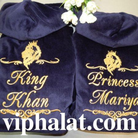Банные махровые суперхалаты для пары Королевская семья