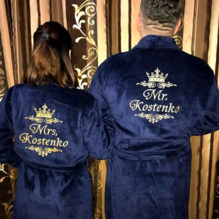 Именные махровые VIP халаты для пары Мистер и мисс