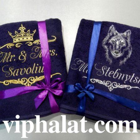 Банное махровое VIP полотенце Подарок под ёлку