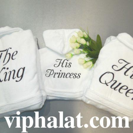 Набор белых махровых халатов Королевская семья