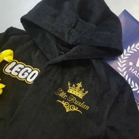 Детский махровый именной VIP халат с вышивкой Конструктор лего
