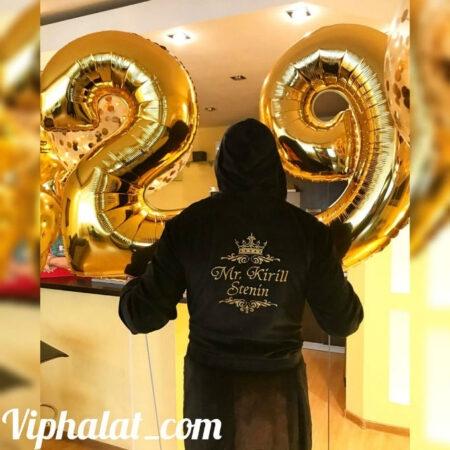 Мужской махровый VIP халат с именной вышивкой Чёрный король