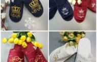 Махровые тапочки с вышивкой – именной подарок к Женскому дню