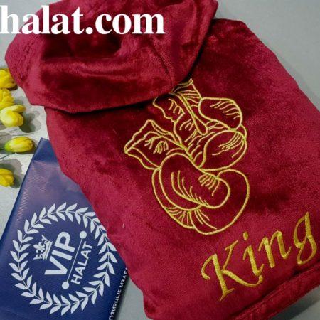 Мужской махровый VIP халат с именной вышивкой Король бокса