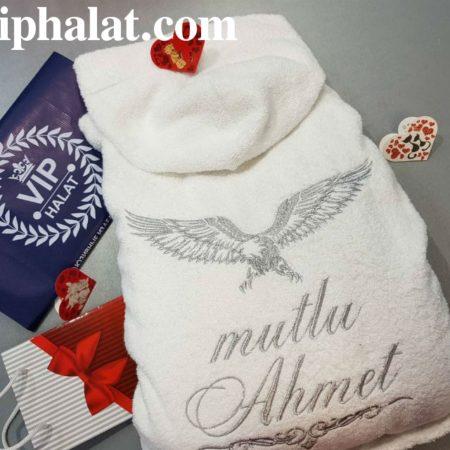 Мужской бамбуковый именной халат с вышивкой Серебристый орёл