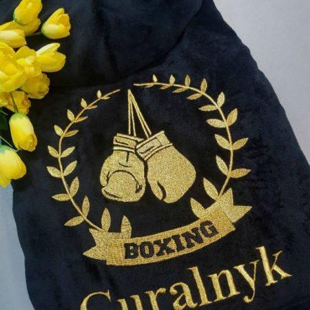Мужской махровый именной халат с вышивкой Золотой пояс боксёра