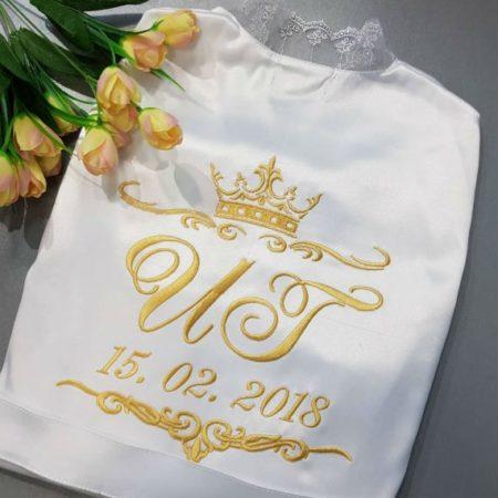 Женский атласный халат «Белая пена»