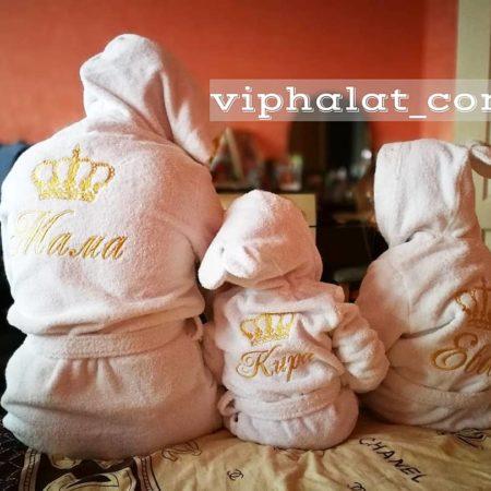 Набор семейных именных VIP халатов Мама и дочки