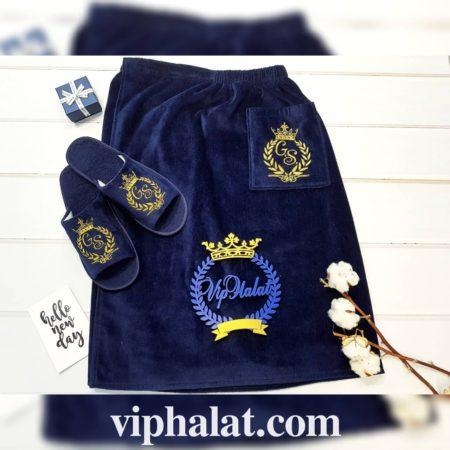 Мужской махровый банный VIP набор Синий килт