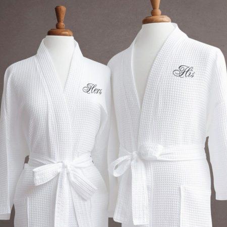Банный вафельный халат с именной вышивкой