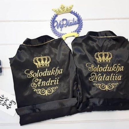 Чёрные атласные VIP халаты для пары Стиль