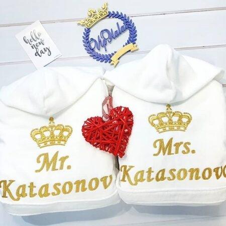 Комплект махровых VIP халатов Белоснежная пара