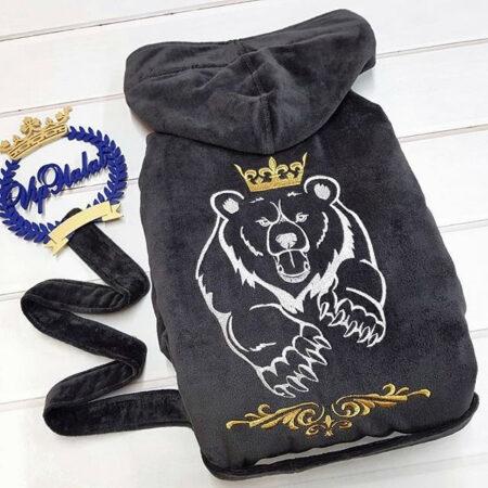 Банный махровый VIP халат Медведь с короной
