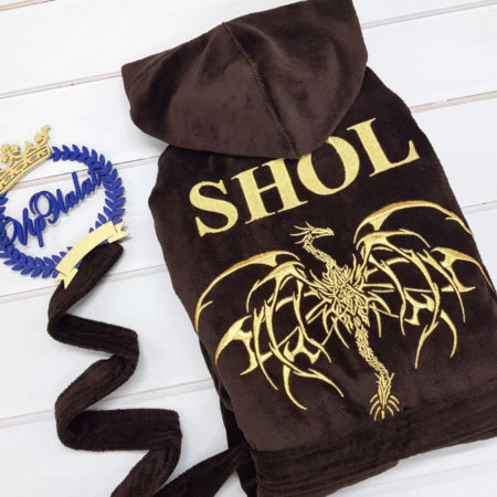 Банный махровый VIP халат Золотой дракон