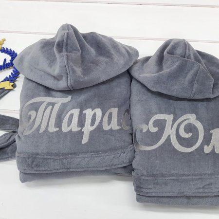 Махровые VIP халаты для пары Жемчужная свадьба