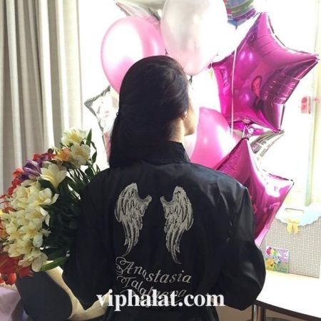 Женский атласный VIP халат Крылья ангела
