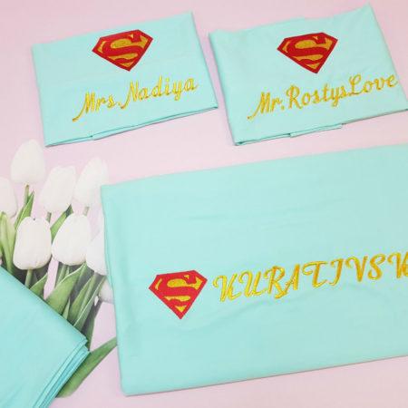 Постельный комплект из сатина Семья суперменов