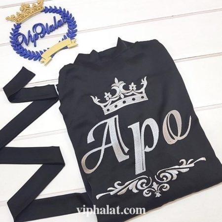 Мужской атласный VIP халат Серебряный король