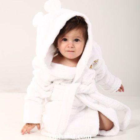 Детский махровый VIP халат Белый медвежонок