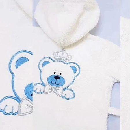 Детский махровый VIP халат Медвежонок-принц