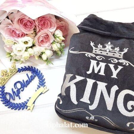 Мужской махровый VIP халат Корона короля