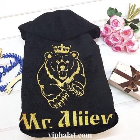 Мужской махровый VIP халат Золотой медведь
