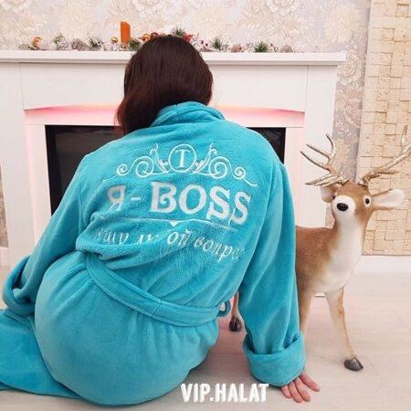 Женский махровый VIP халат Я - BOSS