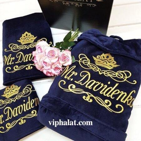 Махровый мужской VIP набор Золотой лотос