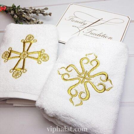 Крестильное полотенце-крыжма Золотой крест