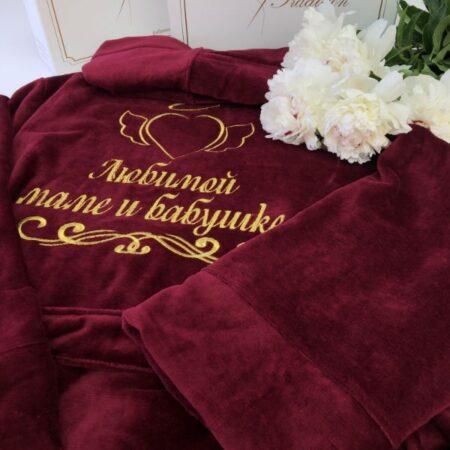 Женский махровый VIP халат Крылья сердца