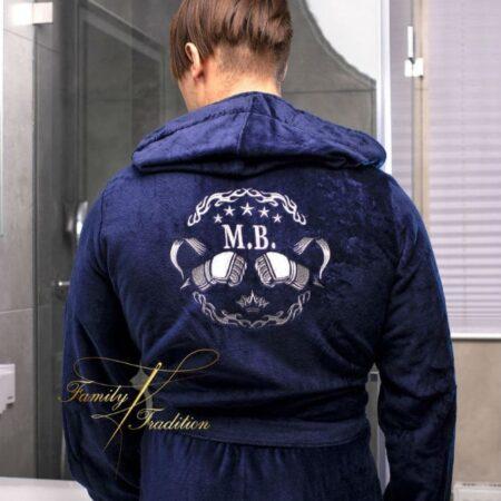Банный махровый VIP халат Любимому боксёру