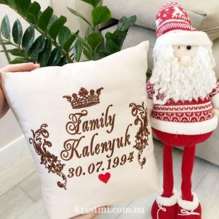 Декоративная именная подушка из велсофта Сердечко