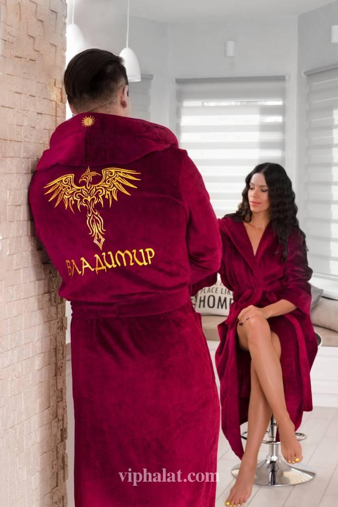 Банный мужской VIP халат с вышивкой Грифон